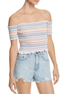 AQUA Rainbow Smocked Cropped Top - 100% Exclusive