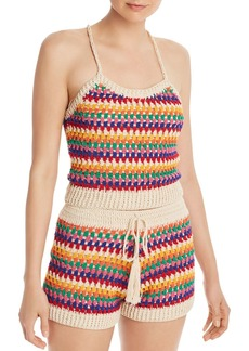 AQUA Rainbow-Stripe Crochet Cropped Top - 100% Exclusive