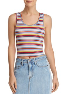 AQUA Rainbow-Stripe Cropped Tank - 100% Exclusive
