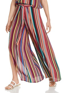 AQUA Rainbow-Stripe Cutaway Wide-Leg Pants - 100% Exclusives