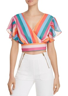 AQUA Rainbow-Stripe Faux-Wrap Cropped Top - 100% Exclusive