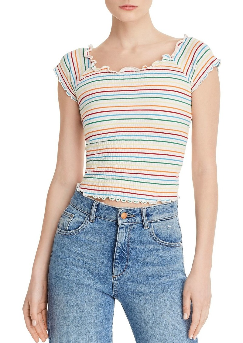 AQUA Rainbow-Stripe Smocked Top - 100% Exclusive