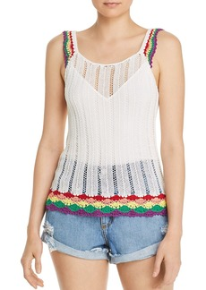 AQUA Rainbow-Trim Crochet Tank - 100% Exclusive
