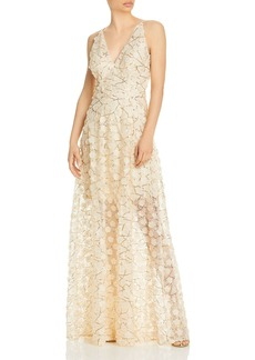 AQUA Raised Floral V Neck Gown - 100% Exclusive