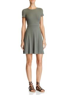 AQUA Rib Lace-Up Back Dress - 100% Exclusive