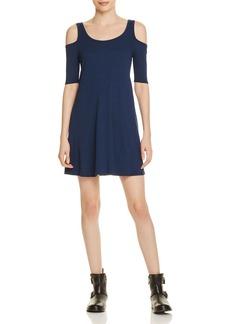 AQUA Ribbed Cold Shoulder Dress - 100% Exclusive
