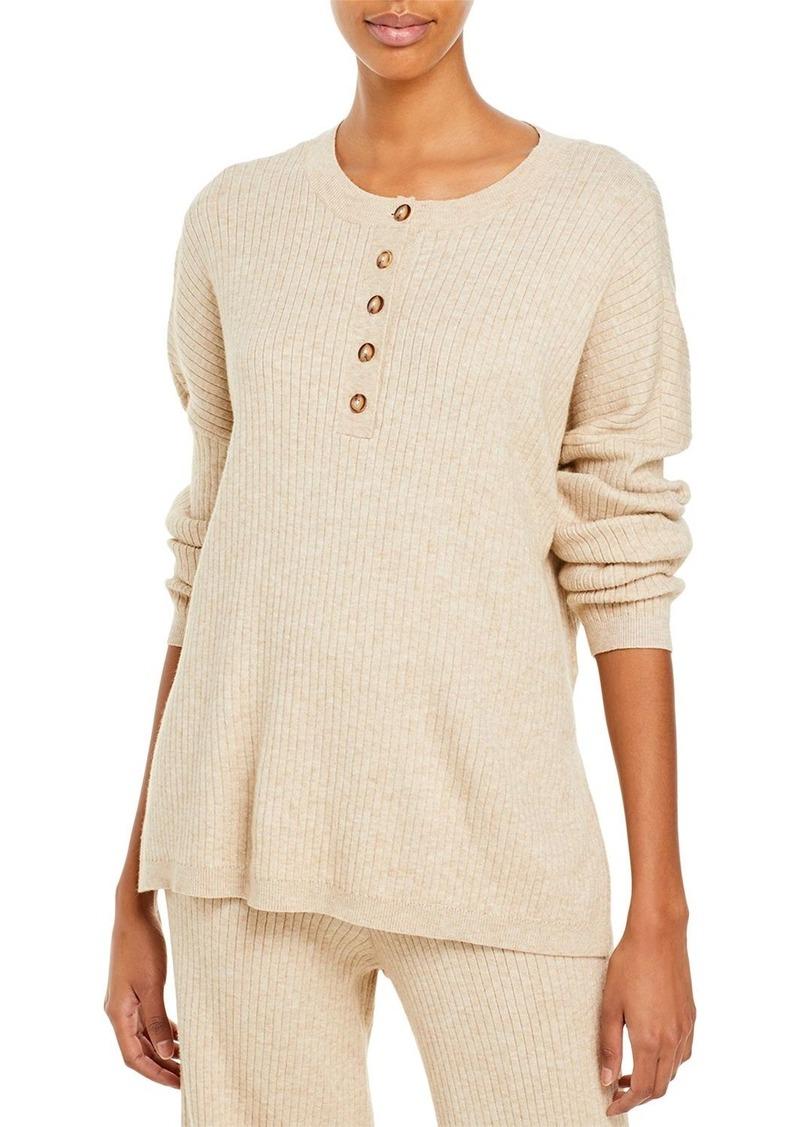 AQUA Ribbed Henley Knit Top - 100% Exclusive