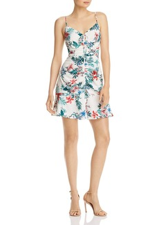AQUA Ruched Drawstring Floral Dress - 100% Exclusive