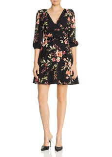 AQUA Ruched Floral Fit-and-Flare Dress - 100% Exclusive
