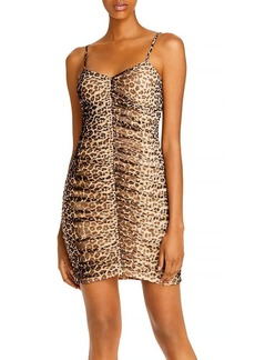 AQUA Ruched Leopard Print Dress - 100% Exclusive