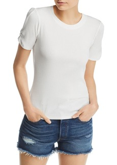 AQUA Ruched-Sleeve Rib-Knit Tee - 100% Exclusive