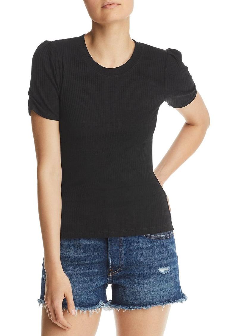 AQUA Ruched-Sleeve Rib-Knit Tee - 100% Exclusive