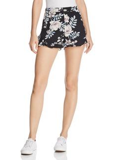 AQUA Ruffle-Hem Floral Print Shorts - 100% Exclusive