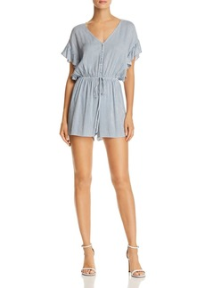AQUA Ruffle-Sleeve Striped Romper - 100% Exclusive