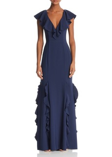 AQUA Ruffled Back-Lace-Up Gown - 100% Exclusive