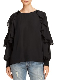 AQUA Ruffled Blouson-Sleeve Top - 100% Exclusive