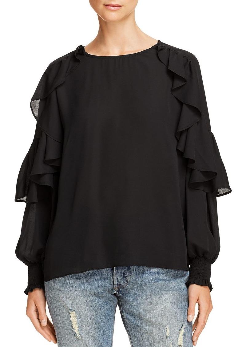 AQUA Ruffled Blouson-Sleeve Top - 100% Exclusive
