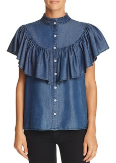 AQUA Ruffled Chambray Western Shirt - 100% Exclusive