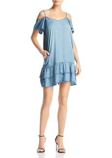 AQUA Ruffled Cold-Shoulder Chambray Dress - 100% Exclusive