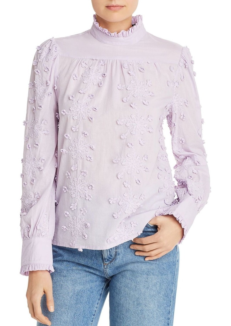 AQUA Ruffled Embroidered Top - 100% Exclusive