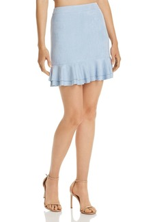 AQUA Ruffled Faux Suede Skirt - 100% Exclusive
