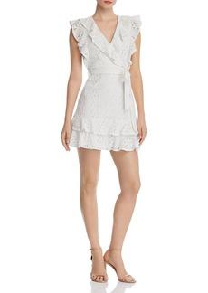 AQUA Ruffled Lace Faux-Wrap Dress - 100% Exclusive