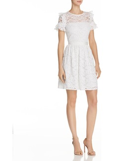 AQUA Ruffled Lace Fit-and-Flare Dress - 100% Exclusive