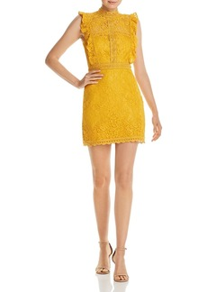 AQUA Ruffled Lace Sheath Dress - 100% Exclusive
