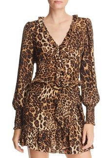 AQUA Ruffled Leopard Print Cropped Top - 100% Exclusive
