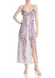 AQUA Ruffled Snake Print Maxi Dress - 100% Exclusive