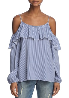 AQUA Ruffled Striped Cold-Shoulder Top - 100% Exclusive