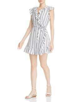 AQUA Ruffled Striped Wrap Dress - 100% Exclusive