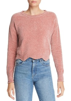 AQUA Scalloped Cropped Chenille Sweater - 100% Exclusive