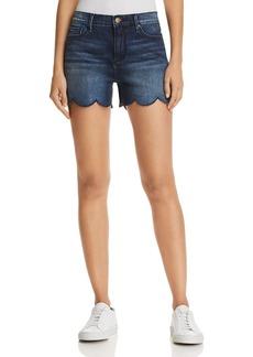 AQUA Scalloped Denim Shorts in Indigo - 100% Exclusive