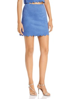 AQUA Scalloped Faux Suede Skirt - 100% Exclusive