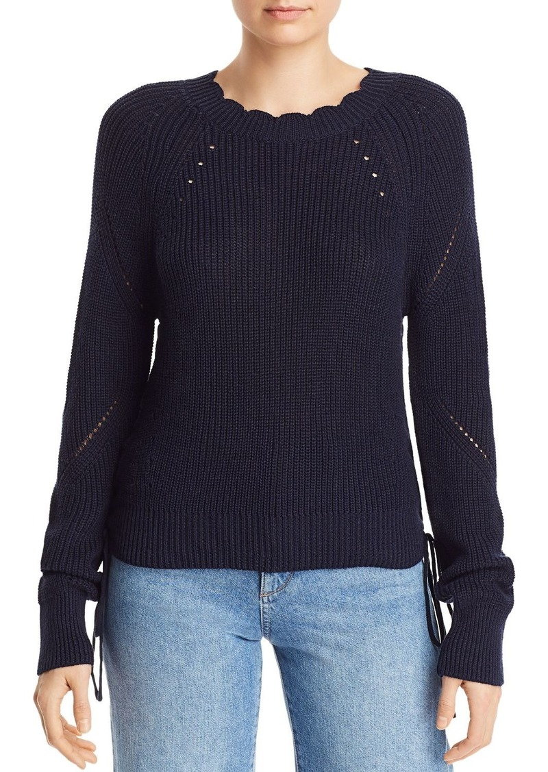 AQUA Scalloped Lace-Up Sweater - 100% Exclusive