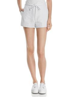 AQUA Scalloped Striped Linen Shorts - 100% Exclusive