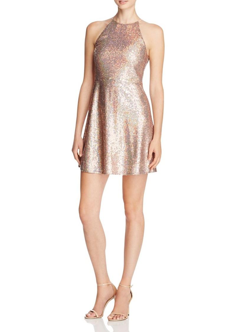 AQUA Sequin Fit and Flare Dress