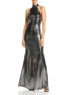 AQUA Sequin Halter-Neck Gown - 100% Exclusive