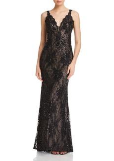 AQUA Sequin Lace Gown - 100% Exclusive