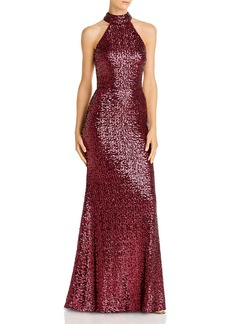 AQUA Sequin Mock-Neck Gown - 100% Exclusive