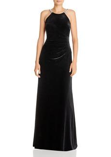 AQUA Sequin-Strap Velvet Gown - 100% Exclusive