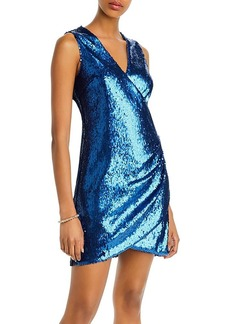 AQUA Sequined Faux-Wrap Dress - 100% Exclusive