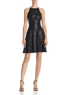 AQUA Sequined Fit-and-Flare Dress - 100% Exclusive