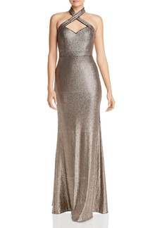 AQUA Sequined Halter Gown - 100% Exclusive