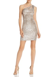 AQUA Sequined One-Shoulder Cocktail Dress - 100% Exclusive
