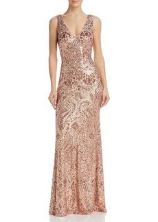 AQUA Sequined Open-Back Gown - 100% Exclusive