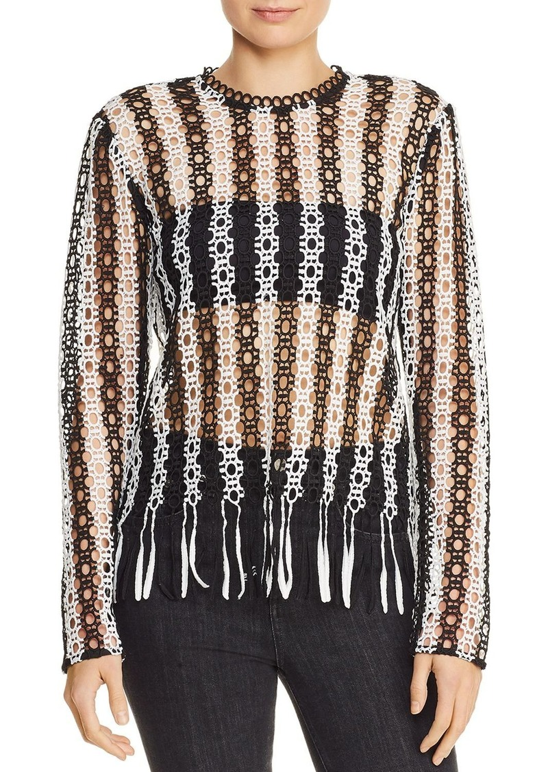 AQUA Sheer Fringed Lace Top - 100% Exclusive
