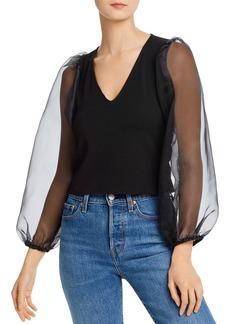 AQUA Sheer Puffed-Sleeve Top - 100% Exclusive
