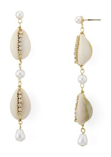 AQUA Shell, Cultured Freshwater Pearl & Crystal Drop Earrings - 100% Exclusive